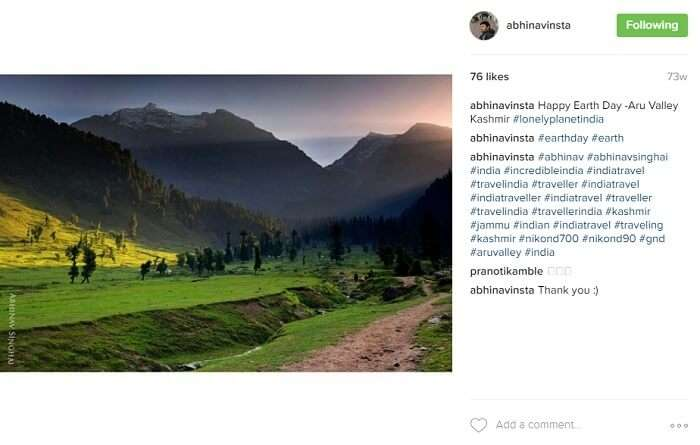 Beautiful landscape of Aru Valley in Kashmir
