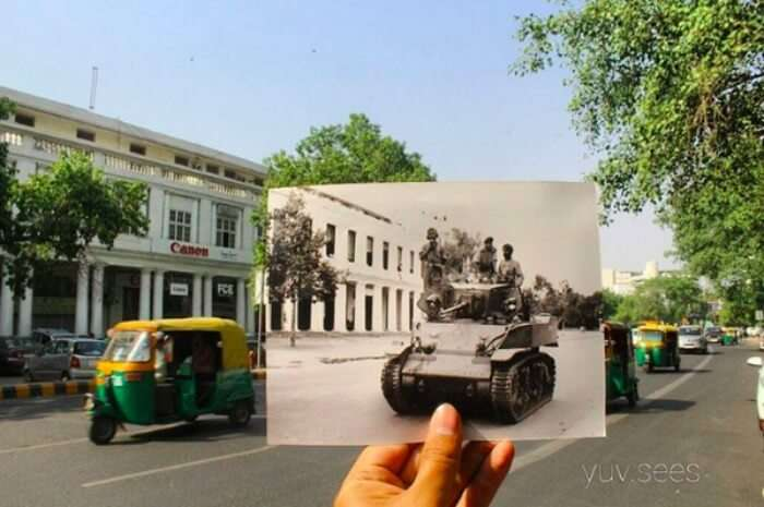 autos on Connaught Place vs tanks there in 1947