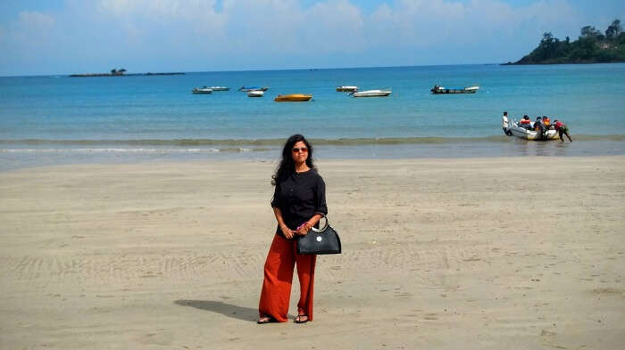 Asits wife on a beach in Andaman