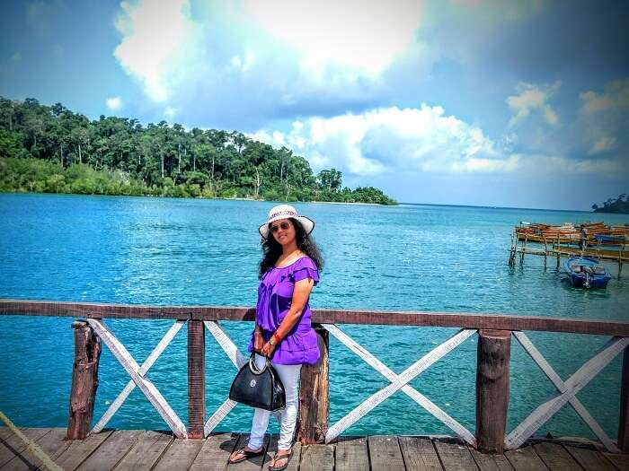 Asits wife poses for a photo in Andaman