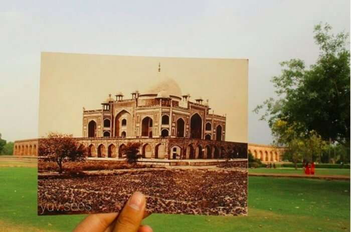 Humayun's Tomb in the bygone era vs what it looks like today