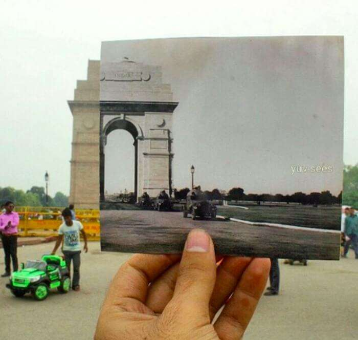 India Gate today vs India Gate without Amar Jawan Jyoti back then