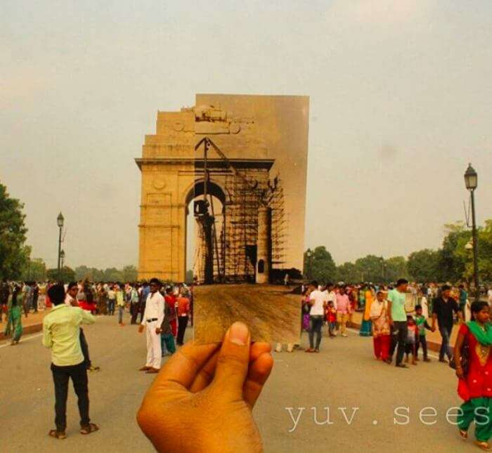 India Gate today vs that under construction back then