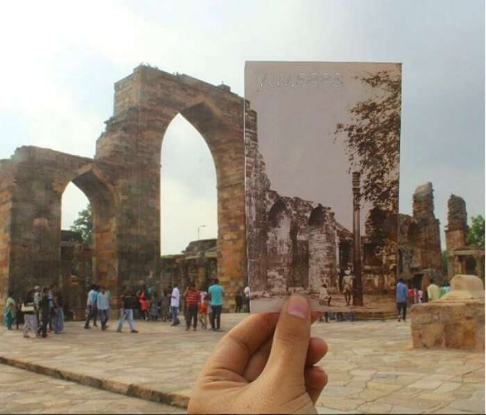 What Qutub Minar's iron pillar looked back then vs what it looks now