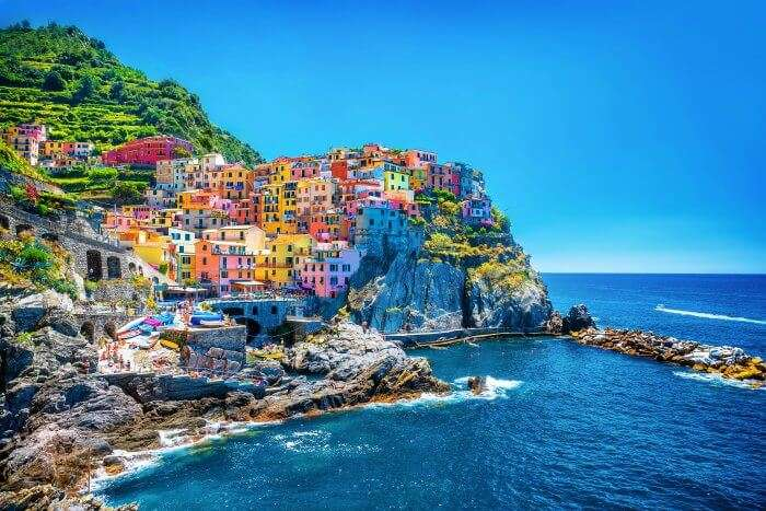 The colourful houses on the port of Italy