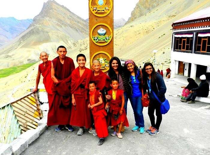 People visiting Key Monastery