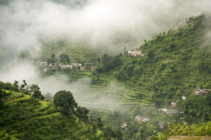 Mist covers the green hills on a winter morning in Khirsu