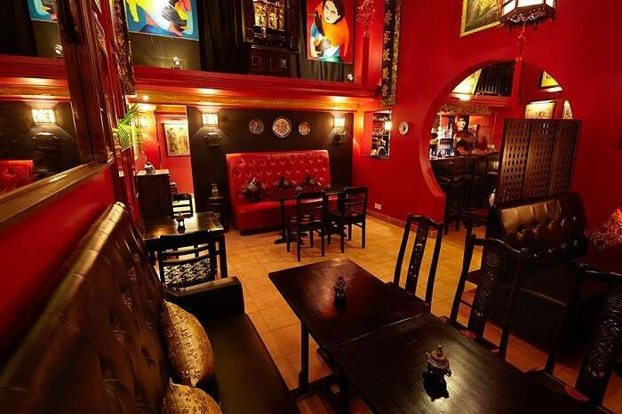 The plush interiors of Miss Wong Cocktail Bar in Cambodia