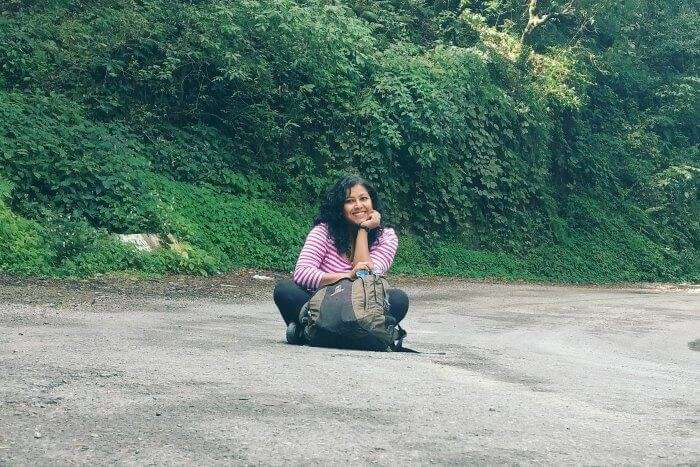 posing on the roads while trekking to Eco Park