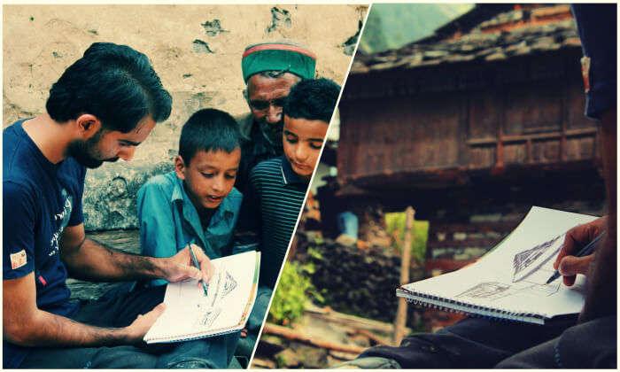 Rahul sketching in Nakthan