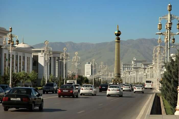 The splendid roads in Turkmenistan with a view of the hills beyond