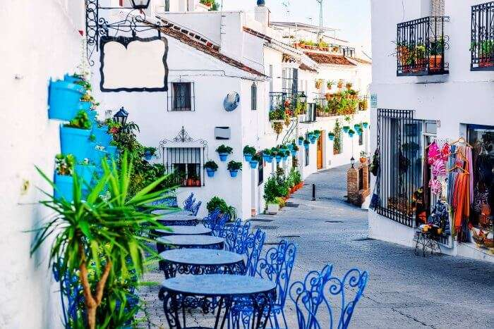 A cafe on a beautiful, calm street in Spain