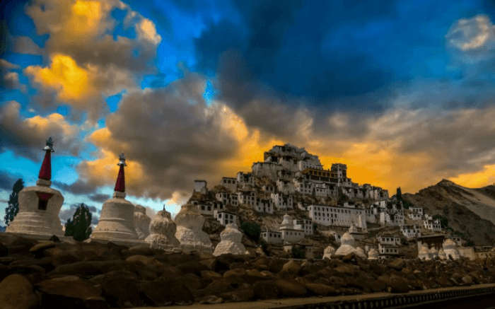The various buildings of Thiksey monastery in Ladakh