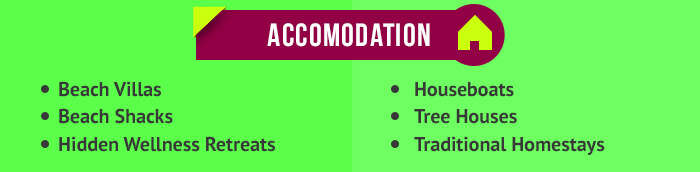 various accomodation options in goa and kerala