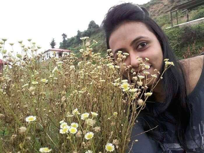 Anamika enjoying the greenery in Chakrata
