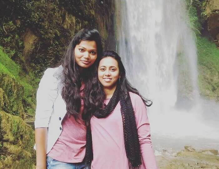 Anamika and her friend at Tiger Fall in Chakrata