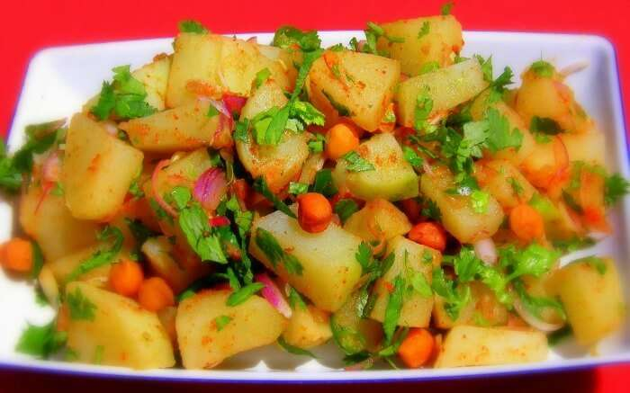Aloo Kabli on a white plate