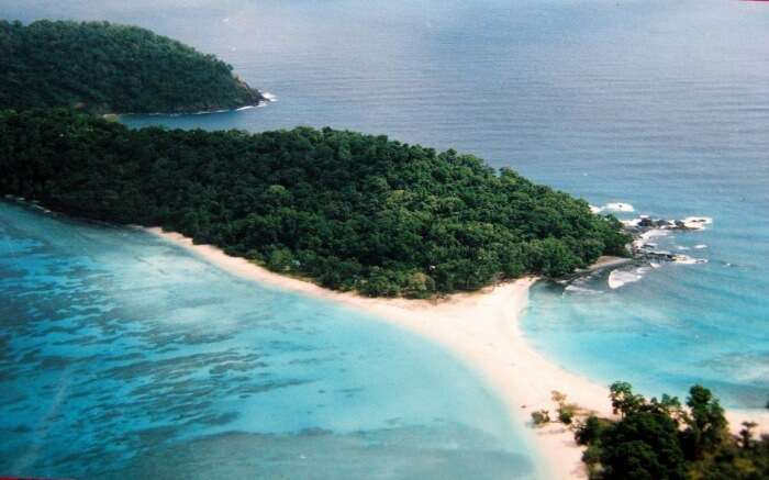 An aerial shot of Cinque Island in Andaman