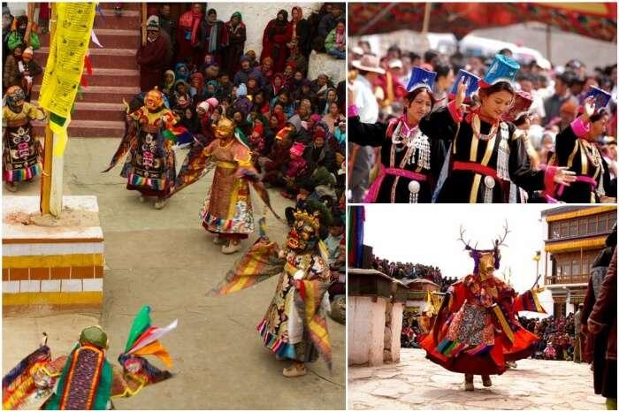 Ladakhis celebrating festivals amidst colors and bonhomie