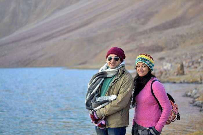 Avneet and her friend at Chandratal Lake