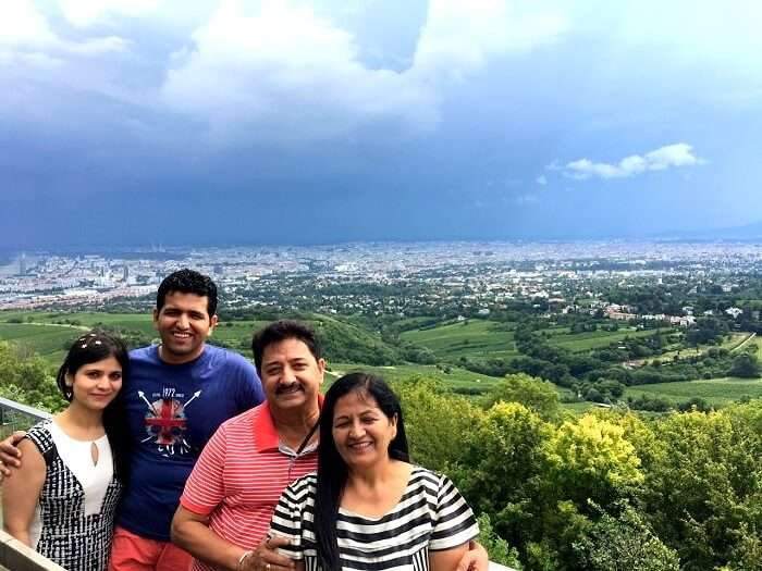 Kaushic and his family in Europe