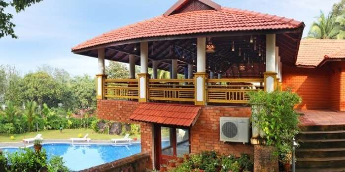 A snap of the swimming pool and other amenities at the Kappad Beach Resort
