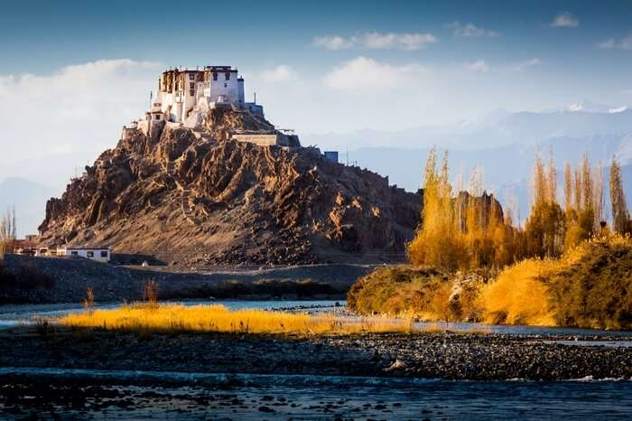 Stakna Monastery on the top of a cliff in Ladakh