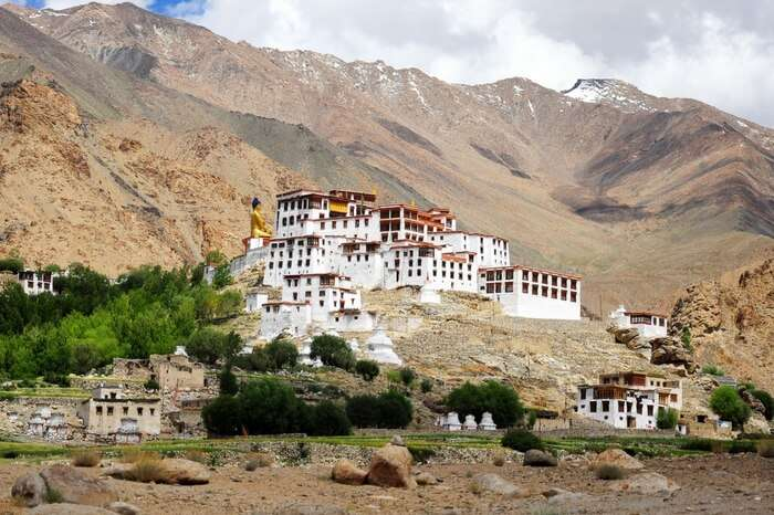 Likir Monastery tucked in mountains in Ladakh