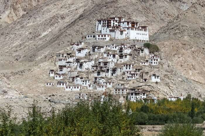 Takthok Monastery tucked in mountains in Ladakh