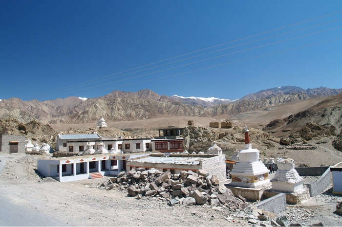 Alchi Monastery in Ladakh overlooked by mountains