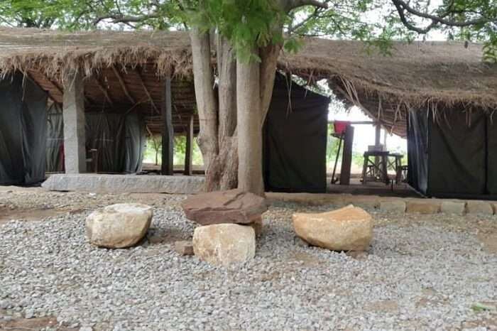 The simple and serene camps at the Nachikuppam campsite near Bangalore