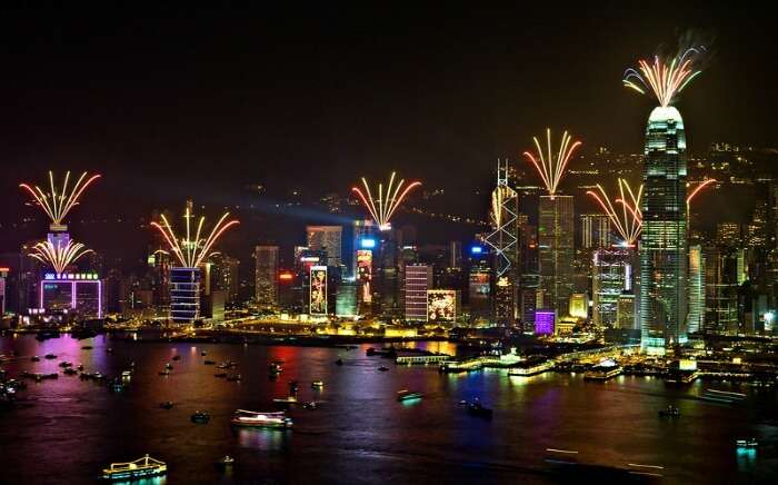 Victoria Harbour during celebration of new year in Hong Kong