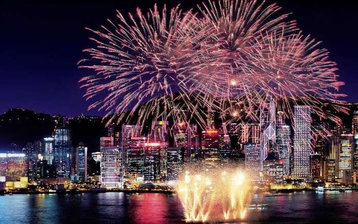 Fireworks during celebration of new year in Hong Kong