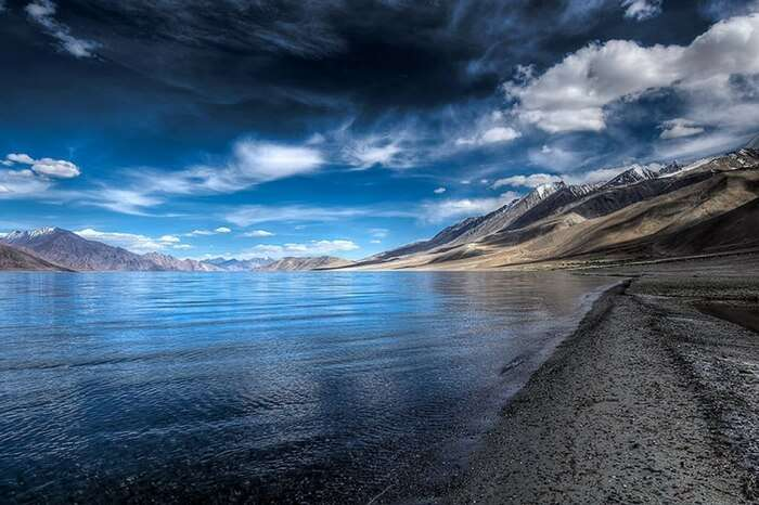 Clouds hovering atop Pangong lake in Leh