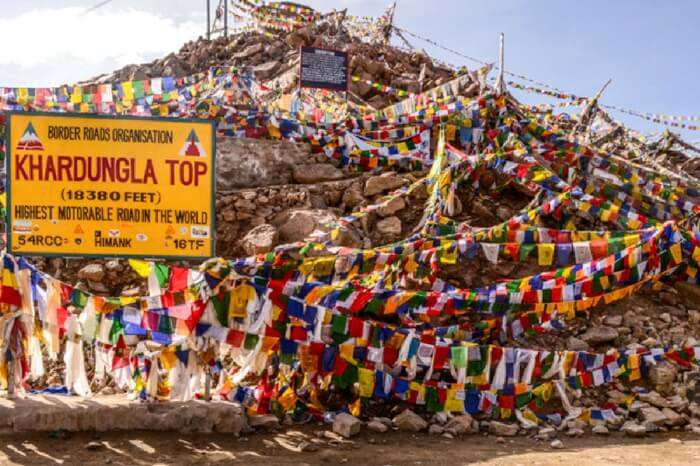 Khardungla top enroute to Pangong Tso lake