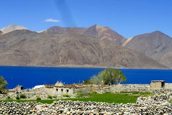 Picturesque Spangmik village near Pangong lake