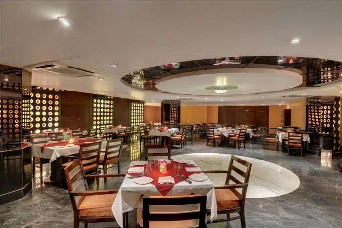 The dining area at the Pride Plaza Hotel in Ahmedabad