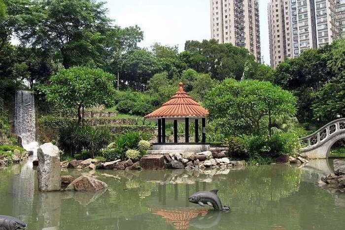 The Shing Mun River at the Sha Tin Central Park in Hong Kong