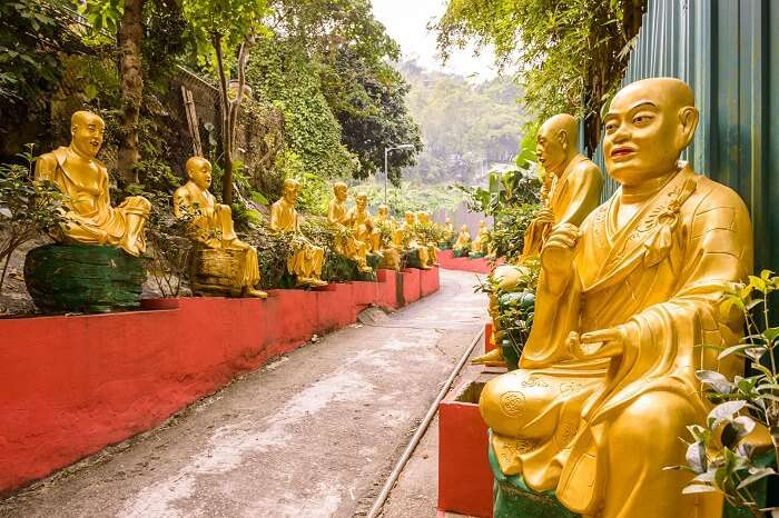 The walkway through the statues at Ten Thousand Buddhas Monastery in Sha Tin