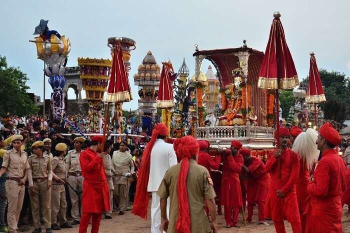 A grand procession during the Teej celebrations in Jaipur