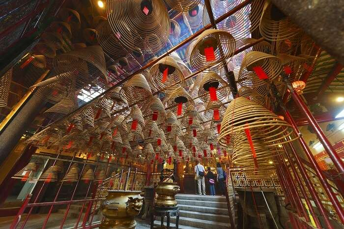 The grand interiors of the Man Mo Temple in Hong Kong