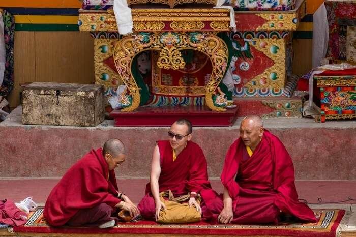 Three buddhist monks in Ladakh
