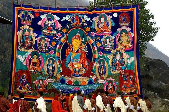Ladakhis offering prayer to deities on the eve of Stok Guru Tsechu