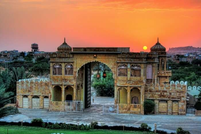 The majestic Fort Rajwada in Jaisalmer at sunrise