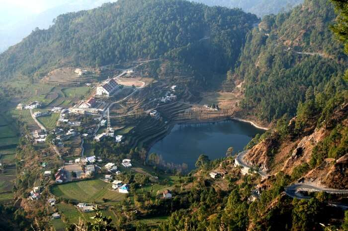 Aerial view of Khurpatal lake in Nainital