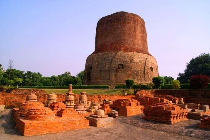 Dhamekh Stupa in Panchayatan Temple ruins in Sarnath