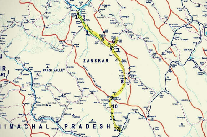Route map of the Padum to Darcha trek in Zanskar Valley