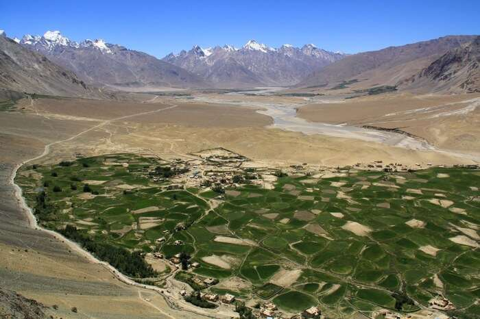 Aerial view of the Zanskar Valley