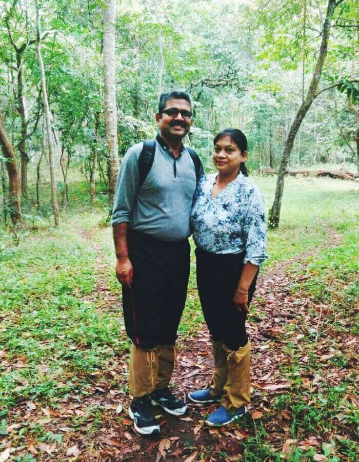 anuj and his wife trekking in thekkady
