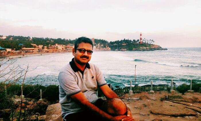 anuj at Vizhinjam beach in kovalam